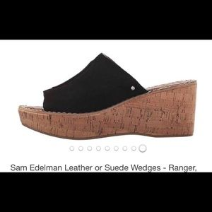 Sam Edelman ranger black suede wedges 2 1/4 he'l